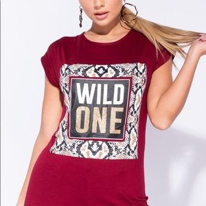 """Tops - Wine Snaked  Print """"WILD ONE"""" T-Shirt"""